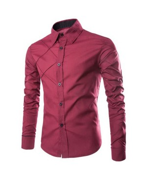 Slimming Stylish Shirt Collar Checked Sutures Design Long Sleeve Polyester Shirt For Men
