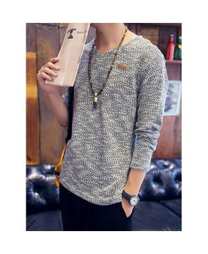Color Block Labeling Slimming V-Neck Long Sleeve Fashion Cotton Blend Sweater For Men