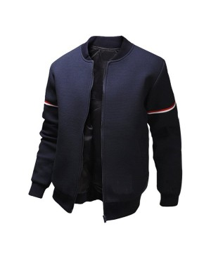 Casual Stand Collar Colorized Striped Taps Rib Spliced Long Sleeves Slimming Jacket For Men