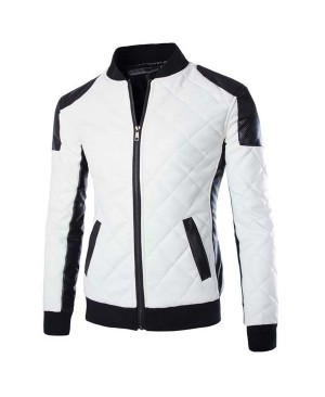 Color Block Rib Splicing Stand Collar Long Sleeve Slimming Fashion PU Leather Jacket For Men