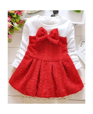 Stylish Round Neck Bowknot Design Long Sleeve Thicken Mini Dress For Girl