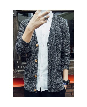 Assorted Color Double Pocket Single-Breasted V-Neck Long Sleeves Vogue Cardigan For Men