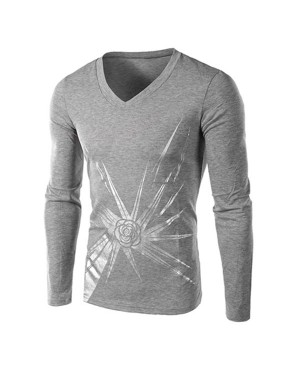 Personality Rose Print V-Neck Long Sleeves Slimming Casual T-Shirt For Men