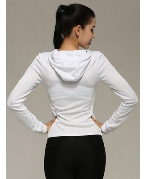 Front Zipper Hooded Slim Sports Coat