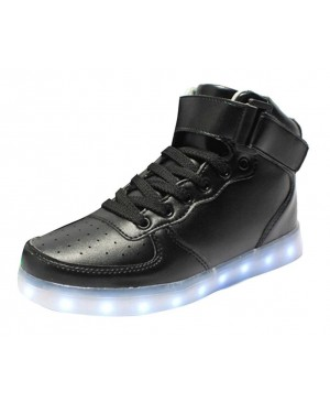 Wealsex Chaussures de Sports Baskets Montante Lacet Boucle LED Clignotante avec 7 couleurs USB Rechargeable Lumineux PU Cuir Noir Blanc Unisex Hommes Femmes