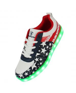 Étoile Motif 7 Changement de couleur d'éclairage LED clignotant Unisexe Sneakers Chaussures avec USB pour Prom Party