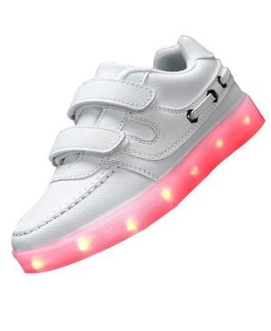 Topteck Kid Garçon Fille de recharge USB LED Light Up Sport Chaussures de course Clignotant Sneakers Athletic avec Velcro