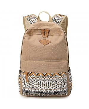 DoubleMay Sac en Toile Cartable College Fille Adolescents Sac à Dos Folk-custom Femmes Impression Mode Multifonctionnel-Camping Voyage Loisirs Sac à Dos pour Ordinateur Portable 5 Couleurs (Khaki)