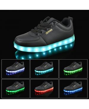 Noir 7 Couleur Unisexe Homme Femme USB Charge LED Lumière Lumineux Clignotants Chaussures de Sports Baskets