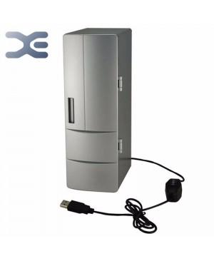 Portable pratique Mini USB réfrigérateur bureau bureau PC de voiture réfrigérateur congélateur boissons peuvent boire refroidisseur Plug & Play argent
