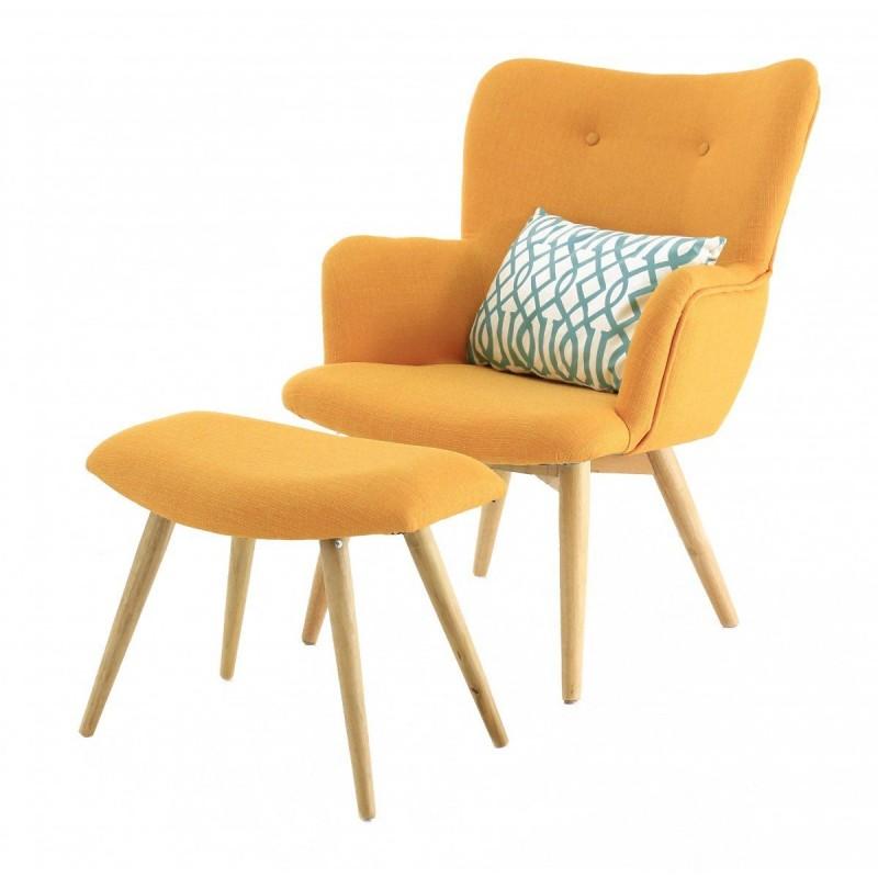 Fauteuil vintage tissu et repose-pieds jaune Stockholm-Fauteuil vintage tissu et repose-pieds jaune Stockholm