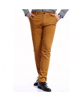 Tiny Letters Print Patch Pocket Metal Design Fitted Straight Leg Zipper Fly Thin Pants For Men
