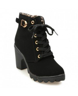Stylish Solid Color Women's Ankle Boots With Lace-Up and Buckle Design