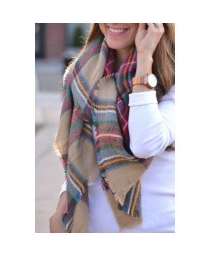 Fashionable Tartan Design Scarf For Women