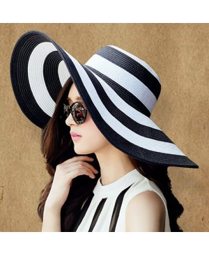 Stylish Wide Brim Black and White Striped Pattern Sun Hat For Women