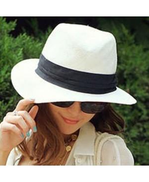 Stylish Black Strap Embellished Flanging Straw Hat For Women