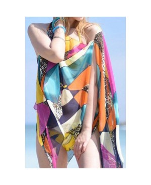 Stylish Leopard Patchwork Geometric Pattern Multifunctional Beach Pashmina For Women