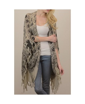 Stylish Tassel Embellished Elephant and Paisley Pattern Voile Kimono Scarf For Women