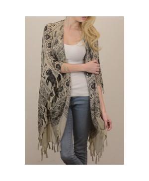 Stylish Tassel Embellished Elephant and Paisley Pattern Voile Kimono Scarf For Women
