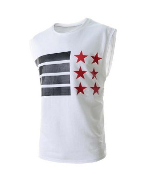 Stars and Stripes Print Round Neck Sleeveless Slimming Stylish Polyester Tank Top For Men