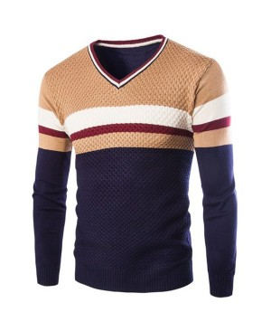 Slimming V-Neck Hit Color Stripes Wave Twist Flowers Long Sleeves Cashmere Blend Sweater For Men
