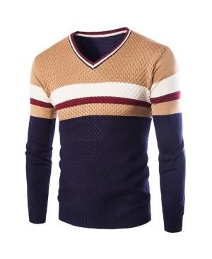 Slimming V-Neck Hit Color Stripes Wave Twist Flowers Long Sleeves Cashmere Blend Sweater For Men