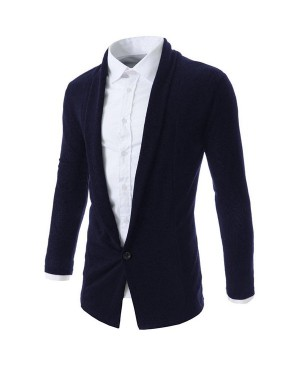 Turn-Down Collar One Button Design Long Sleeve Cardigan For Men
