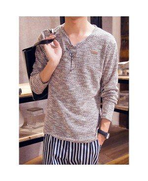 Color Block Labeling Slimming V-Neck Long Sleeve Fashion Cotton Blend Sweater For Men