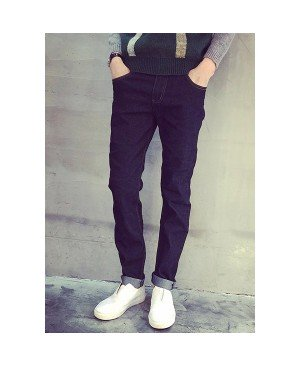 Simple Narrow Feet Bleach Wash Pocket Suture Line Design Slimming Zipper Fly Jeans For Men