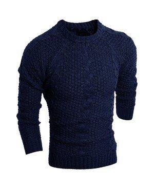 Round Neck Solid Color Kink Design Long Sleeve Sweater For Men