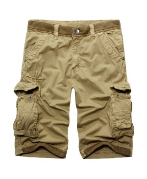 Casual Zip Fly Multi-Pockets Solid Color Cargo Shorts For Men
