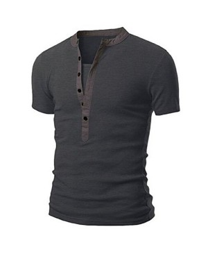 Stand Collar Splicing Design Short Sleeve Men's T-Shirt