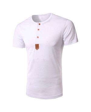 Round Neck Single Breasted Design PU-Leather Spliced Short Sleeve T-Shirt For Men