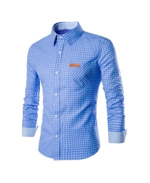Slimming Checked Turn-Down Collar Long Sleeve Leather Tag Men's Shirt