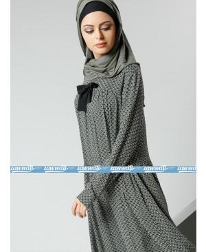 Robe à motifs en tissu naturel - Kaki