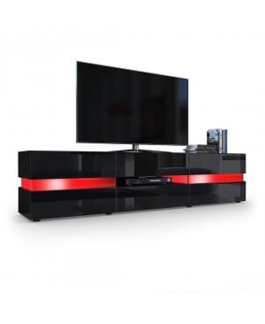 Meuble TV Armoire basse Flow en Noir mat / Noir laqué haute brillance avec éclairage LED