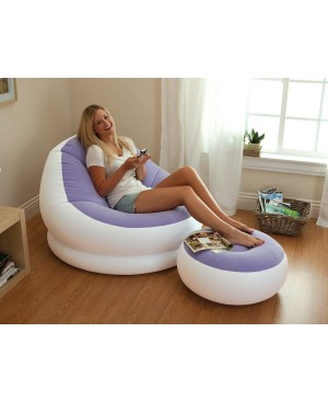 Intex - Ensemble fauteuil et pouf POP Violet / Blanc INTEX