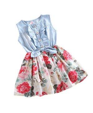 Etosell - Enfants Filles Vêtements Robe d'été Jupes - en Denim Arc Floral Ebouriffé 2-6 ans