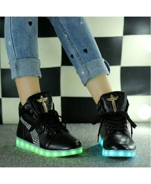 DoGeek Croix d'ange Chaussures LED Baskets Unisexe Femme Homme Argent USB Chaussures de Sports Baskets