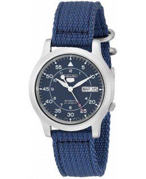 Seiko - SNK807K2 - 5 Gent - Montre Homme - Automatique Analogique - Cadran Bleu - Bracelet Tissu Bleu