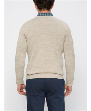 Beige Solid Crew Neck Cardigan