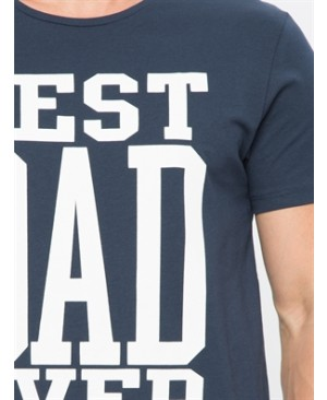 Navy Short Sleeve Printed Standard Crew Neck T-Shirt