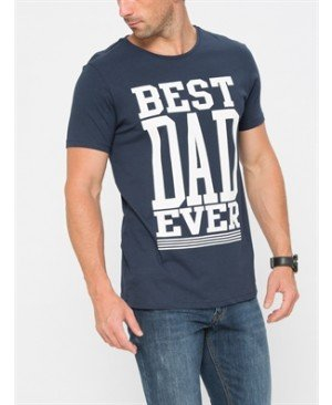 Navy Short Sleeve Printed Standard Crew Neck T-Shirt