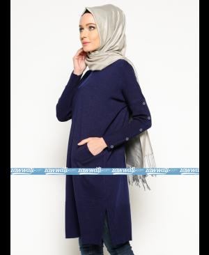 Tunique en tricot - Bleu foncé - Seyhan Fashion