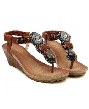 Bohemia Women's Sandals With Wedge and Beading Design