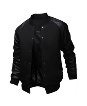 Slimming Trendy Stand Collar Large Pocket Color Splicing Long Sleeve Polyester Jacket For Men