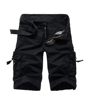Trendy Straight Leg Multi-Pocket Solid Color Military Style Cotton Blend Shorts For Men