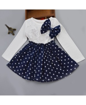 Stylish Long Sleeve Round Neck Lace Splicing Star Print Bowknot Dress For Girls