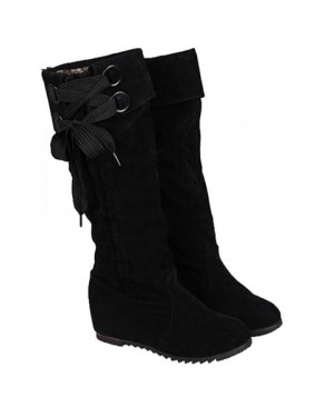 Simplicity Women's Mid-Calf Boots With Flock and Pure Color Design