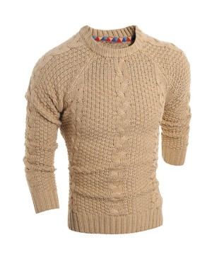 Round Neck Solid Color Kink Design Long Sleeve Sweater For Men